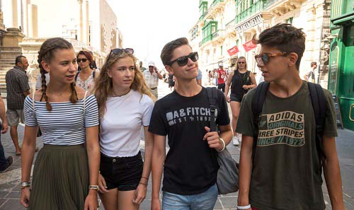 teenagers in Valletta as part of BELS Study Travel Packages