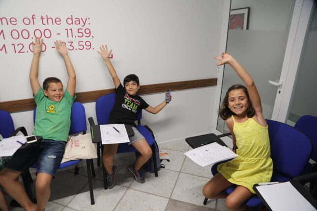 Young learners during English courses