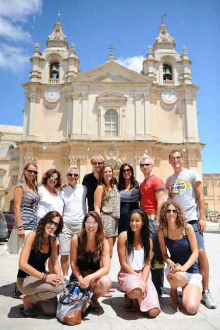 a group of students on a school trip in Malta