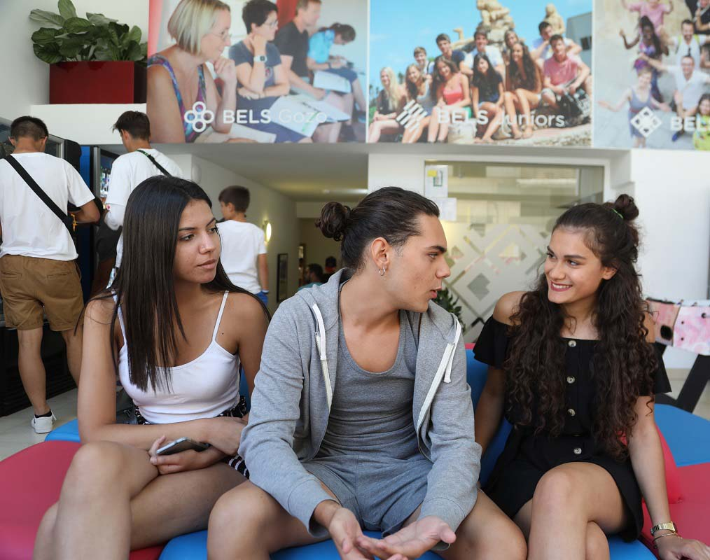 young adults during their break in our Malta school
