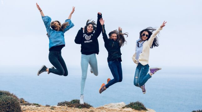 language school students having fun during an activity in Malta