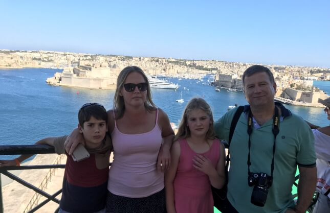 Our student Ildiko from Hungary and her family in Malta