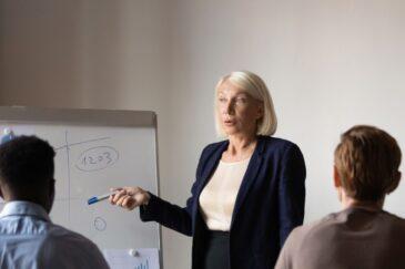 Una professoressa con gli studenti durante il corsi di inglese per aziende