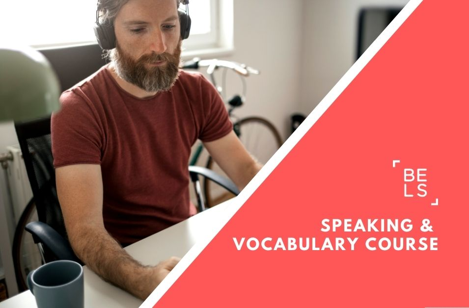 Online courses poster for speaking and vocabulary classes