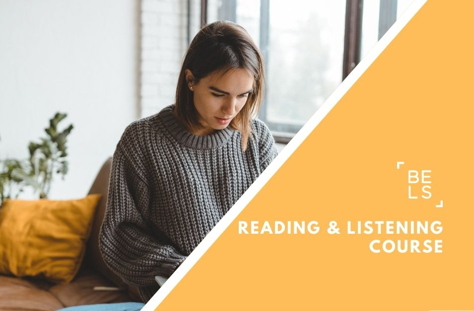 Online courses poster for listening and reading skills