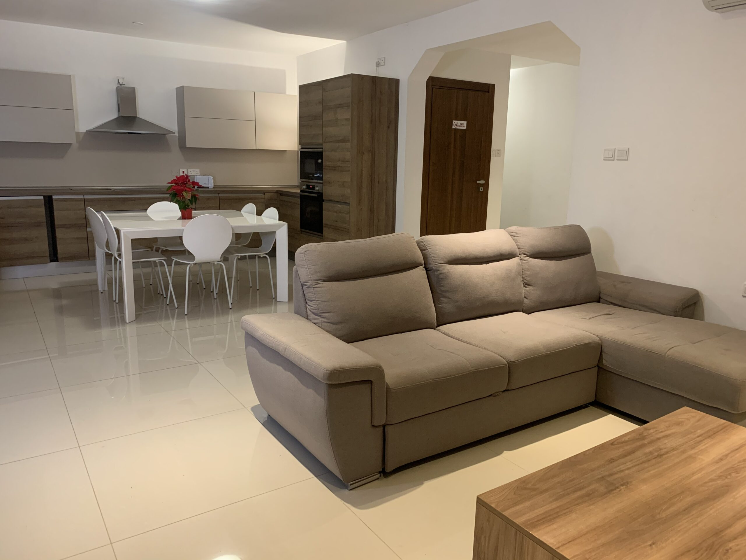 The kitchen and living area at our shared superior residences in Malta