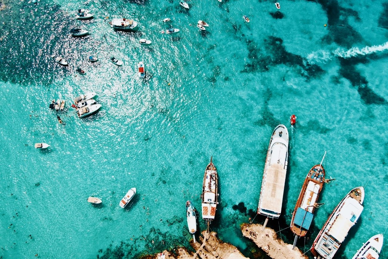 Ariel image of Comino and boats