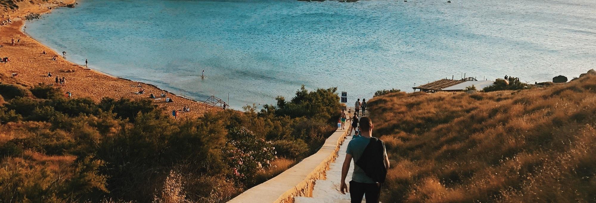 Walking down to Riviera bay in summer